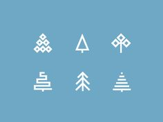 Christmas trees designed by Ion Popa. Logo Design Inspiration, Icon Design, Christmas Tree Logo, Tree Logos, Doodle Lettering, Typography Logo, Sticker Design, Ikon, Graphic Design