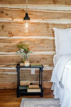 The master bedroom's repurposed wood wall, as seen on Fixer Upper.