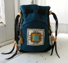BEAUTIFUL medicine pouch Spirit Bag with Amber, Amazonite, Citrine, Quartz Crystal, Rutilated Quartz. $89.00, via Etsy.