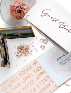 This beautiful Hardcover modern photo guest book made with luxurious calligraphy rose gold foil writing with high quality craft paper and a silk pink blush bookmark. A great idea for a Wedding Guest Book with photos in a unique modern luxury style.