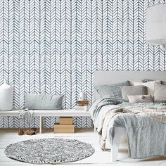 Self adhesive vinyl temporary removable wallpaper, wall decal - Chevron pattern print  - 026 WHITE/ NAVY Good.