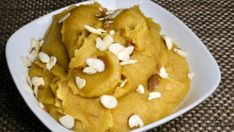 Besan Ka Halwa (Sweet Indian dessert) by Manjula Indian Dessert Recipes, Indian Sweets, Sweets Recipes, Besan Ka Halwa Recipe, Vegetarian Cooking, Vegetarian Recipes, Baking, Lentils, Roast