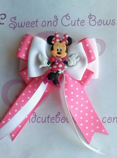 Items similar to Minnie Mouse hair bow Attached to an alligator clip, a barrette, a pony tail holder or a headband on Etsy Ribbon Hair Bows, Diy Hair Bows, Diy Bow, Ribbon Flower, Hair Bow Tutorial, Flower Tutorial, Disney Bows, Minnie Mouse Bow, Baby Hair Clips