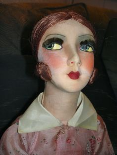 VINTAGE FRENCH DECO BOUDOIR CLOTH DOLL 29 1/2""