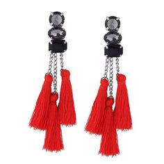 Rhinestone Tassel Chain Earrings Red (€3,17) ❤ liked on Polyvore featuring jewelry, earrings, red jewellery, tassle earrings, chain earrings, fringe tassel earrings and red rhinestone jewelry