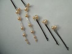 Vintage Pearl and Crystal BEADED Bobby Pin Set  by YourGypsyGirl, $15.00