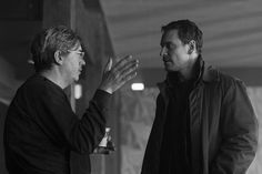 """Michael Fassbender and the director Thomas Alfredson on the set of """"The Snowman"""" - upcoming 2017 film - Photo by Jack English"""