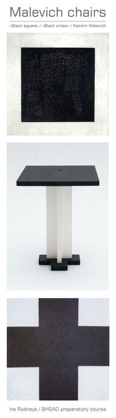 "Malevich chair / Ira Rudnaya / BHSAD preparatory course / ""Black square"" & ""Black cross"""