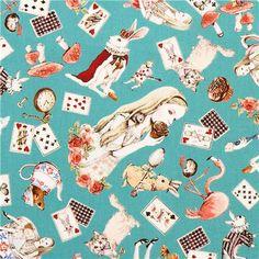 teal Cosmo Alice in Wonderland girl fairy tale fabric Japan