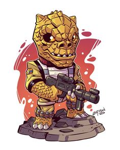 Who's the Bossk? Make sure to take advantage of my big print sale May 4th at www.dereklaufman.com All new prints and a site wide sale! #starwars #bossk #bountyhunter #maythe4thbewithyou #fanart #clipstudiopaint #mangastudio #dereklaufman