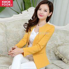 Nova moda inverno mulheres magro Blazer casaco jaqueta Casual manga um botão Outerwear terno amarelo feminina Blazers trabalho desgaste Blaser