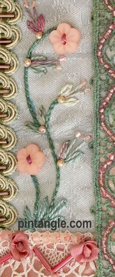 Crazy Quilting.  I love the color choices and the use of materials in this tiny example!