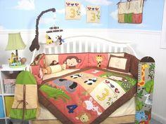 SoHo 1234 Jungle Friends Baby Crib Nursery Bedding Set 13 pcs included Diaper Bag with Changing Pad & Bottle Case by SoHo Designs, http://www.amazon.com/dp/B0035CGVFI/ref=cm_sw_r_pi_dp_MZAerb0GN5GT4