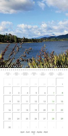 "Reisekalender mit Planer ""New Zealand – Variety of the South Island"", Kalenderblatt April: Lake Te Anau"