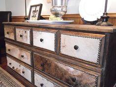 Cowhide dresser redo. I can't wait to try this. I love the western look that the cowhide gives.