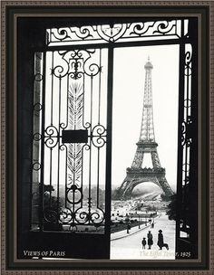 """Views of Paris The Eiffel Tower 1925 by Unknown Anon Framed Art Print 27""""x35"""""""