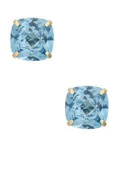 14K Yellow Gold Cushion-Cut Aquamarine Earrings