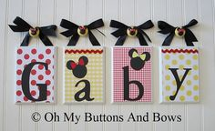 Minnie mouse bed room theme | Name Letters . Hanging Name Letters . Classic Minnie Mouse . Baby Name ...