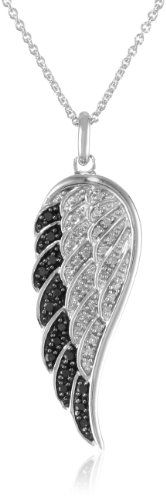"Sterling Silver Black and White Diamond Angel Wing Pendant Necklace (1/5 cttw, I-J Color, I2-I3 Clarity), 18"" Amazon Curated Collection,http://www.amazon.com/dp/B00394F4BY/ref=cm_sw_r_pi_dp_mDDCtb0Q4T141683"