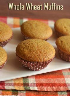 Whole Wheat Cake Recipe, Wheat Muffin Recipe, Vanilla Muffin Recipe, Whole Wheat Muffins, Cake Receipe, Eggless Desserts, Eggless Recipes, Eggless Baking, Easy Desserts