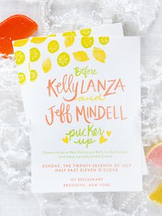 Bridal Shower Invitation Ideas: Vibrant and Colorful Letterpress Citrus-Inspired Bridal Shower Invitations by 9th Letter Press via Oh So Beautiful Paper