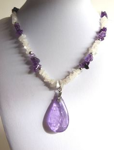 Handmade Purple and White Stone Chip Necklace with Pear Shaped Teardrop Pendant - Amethyst, Rainbow Moonstone by BokBokJewelry, $27.00 USD
