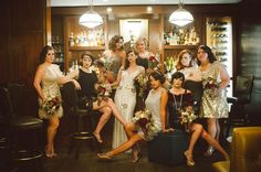 20′s-Inspired Art Deco Wedding ~ I adore this. I would totally copy this if I ever did a vow renewal! All the pics are cute and her dress and the bridesmaids dresses are fab!