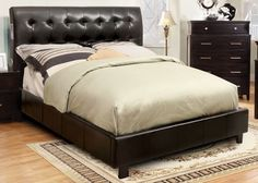 Furniture of America Hendrik Espresso Queen Size Platform Bed with Built-in Bluetooth Speakers CM7057Q
