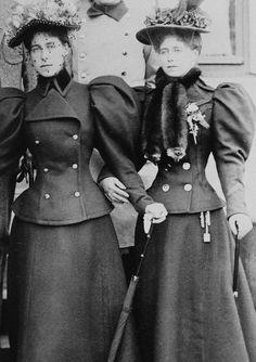 The eldest daughters of the Duke of Edinburgh: Victoria Melita, Grand Duchess of Russia, and Marie, Queen of Romania. 1896