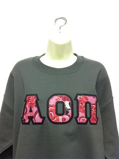 Large Charcoal Alpha Omicron Pi Classic Sweatshirt with Lilly Alpha Omicron Pi fabric