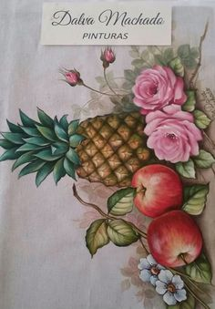 Fruit Art, Arte Floral, Fabric Painting, Still Life, Projects To Try, Lily, Drawings, Flowers, Painting On Tiles