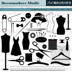 Here is a set of clip art illustrations of dressmaking and sewing related imagery. 37 images in this collection!