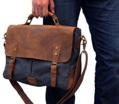 Hey, I found this really awesome Etsy listing at https://www.etsy.com/listing/167657304/14-leather-canvas-messenger-bag