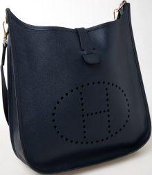 Hermes Navy Leather Evelyn Bag.