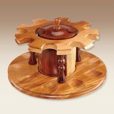 Decatur: 9 Pipe Hardwood Rotating Stand with Matching Wood Tobacco Jar