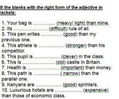Comparative Or Superlative? Degrees Of Comparison Worksheet