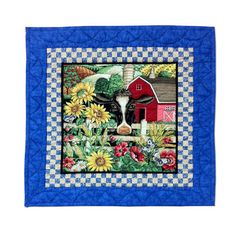 Etsy: Quilt Wall Hanging Sunflowers Holstein Cow Red Barn