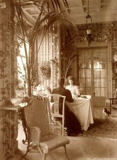 Queen Alexandra & her sister,Empress Maria,in a beautiful sun room,circa 1880s