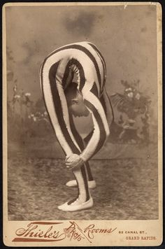 Cabinet card of a contortionist taken at 62 Canal St - c. 1880