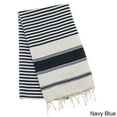 Authentic Fouta Natural Cotton Multi-Striped Bath and Beach Towel (Tunisia) By Berber Decor| Overstock.com