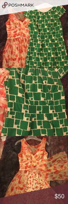 """BUNDLED😀⚡️ BANANA REPUBLIC & Donna Ricco DRESSES beautiful like new green and white cute giraffe print 100% silk banana republic dress size 6 fully line freshly dry cleaned.. Waist 15; 36""""L..retail for $129 ; Donna RICCO .. Size 4: retro style dress.. you will feel & look like a Million Dollars!!! Orange, peach & cream HAND WASH-100% polyester. colors . waist 13"""" """" L 37)...2 for $50.00)...😀❤️GREAT BUNDLE❗️❗️❗️❗️ Banana Republic Dresses"""