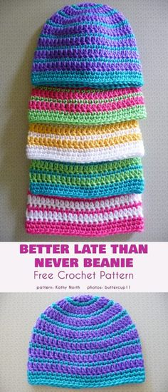 Striped Beanie Free Crochet Patterns - Who doesn't love stripes? It's a perfect choice for a hat/beanie not only for kids. Keep your head warm and stylish with no effort. The patterns a. Bonnet Crochet, Easy Crochet Hat, Crochet Cap, Basic Crochet Stitches, Simple Crochet, Crocheted Hats, Knit Hats, Crochet Dolls, Beanie Pattern Free