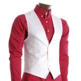 FLATSEVEN Mens Slim Fit Business Casual Premium Waistcoat (VE200) White