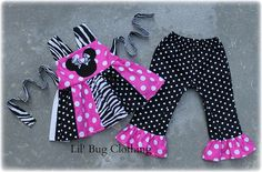 Minnie Mouse Zebra Patch Top And Capris Outfit Pink And Black White Polka Dots sold by Lil Bug Clothing. Shop more products from Lil Bug Clothing on Storenvy, the home of independent small businesses all over the world.