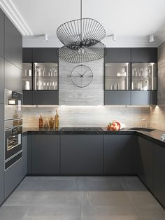 Popular Black Kitchen Design Ideas You Have To Know. Here are the Black Kitchen Design Ideas You Have To Know. This post about Black Kitchen Design Ideas You Have  Grey Kitchen Interior, Grey Kitchen Designs, Modern Kitchen Interiors, Kitchen Room Design, Kitchen Cabinet Design, Modern Kitchen Design, Home Decor Kitchen, Home Interior Design, Modern Grey Kitchen