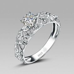 Retro Hollow 925 Sterling Silver Engagement Ring