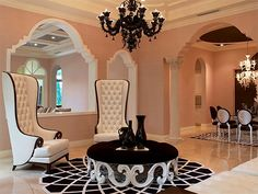 The tall shape of the chairs gives a more regal and sleek feeling to this room. Living Room Furniture, Home Furniture, Living Room Decor, Living Rooms, Home Decoracion, Home Fashion, My Dream Home, Decoration, Luxury Homes