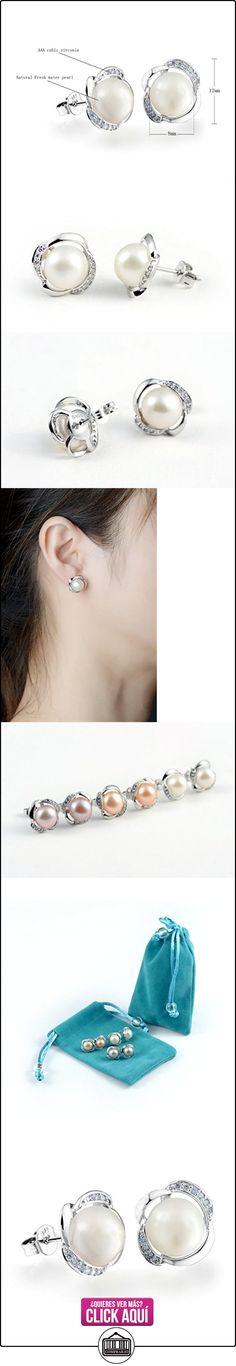 8MM Pendientes de la perla de agua dulce natural de las mujeres de plata chapada  ✿ Joyas para mujer - Las mejores ofertas ✿ ▬► Ver oferta: https://comprar.io/goto/B00YOCQQI0