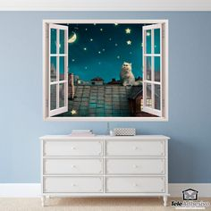 Wall mural A cat on the roof. Decorative vinyl that simulates a window open to a beautiful landscape of a cat on the roof. Stair Walls, Stairs, Poster Xxl, Window Wall, Wall Stickers, Windows, Diy, Painting, Furniture