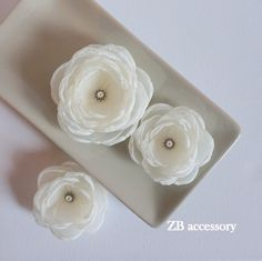 Ivory hair flowers, Ivory Bridal fabric hair clips, Ivory Bridesmaids dress sash brooch, Flower girls hair pins, Handmade Wedding Ornaments by ZBaccessory on Etsy https://www.etsy.com/listing/270658805/ivory-hair-flowers-ivory-bridal-fabric